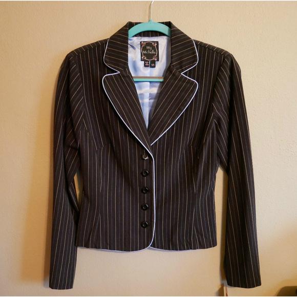 My Michelle Jackets & Blazers - NWT blazer / suit jacket black with blue pinstripe